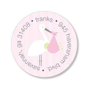 Stork Pink Round Baby Shower Stickers Home & Kitchen