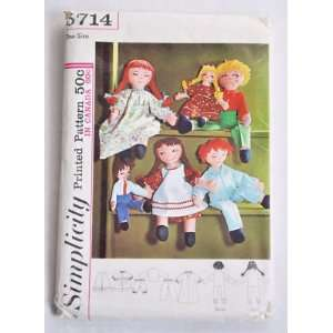 Rag Doll Vintage Simplicity Pattern 1964 Never Used Un Cut