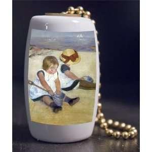 Fine Art Cassatt Children on Beach Porcelain Fan / Light Pull