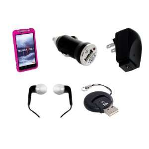 5 Piece Accessory Kit w/ Pink Snap On Rubberized Hard Case