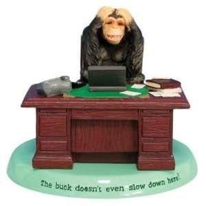 Chimpanzee Monkey Buck Stops Here Going Ape Figurine