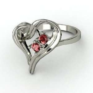 Mothers Heart Ring, 14K White Gold Ring with Red Garnet
