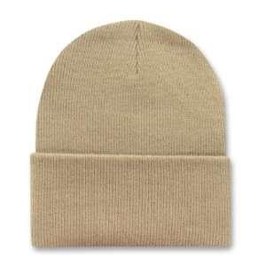 KHAKI TAN LONG BEANIE SKI CAP CAPS HAT HATS CUFFED