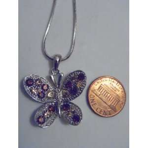 Silver and Brown Swarovski Crystal Butterfly Necklace