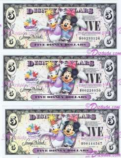 2009 Disney Dollar 3 D series Five dollar Bills
