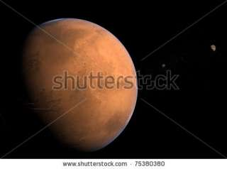 Mars With Moons   Phobos And Deimos Stock Photo 75380380
