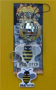 BEE OTCH AIR FRESHENER, KEYCHAIN AND DISCO BALL FROM THE TRANSFORMERS
