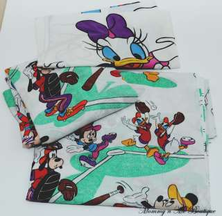 Vtg Disney Mickey Friends Sports Twin Sheet Set Bedding