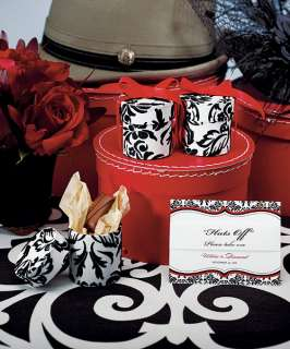 72)Love Bird Damask Favor Boxes Black Elegant Wedding