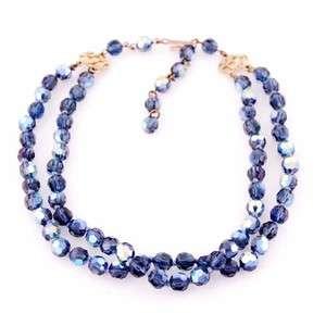 Vintage Aurora Borealis Blue Crystal Necklace 1950S