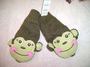 NWT TCP childrens place monkey gloves mittens 10 14 12