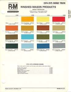 1974 & 1975 DODGE TRUCK PAINT CHIPS SHEET (R M)