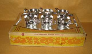 VINTAGE RUSSIAN COFFEE SET OF 6 CUP HOLDERS w/ TRAY BOX