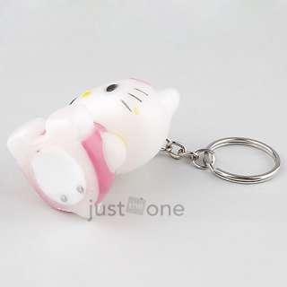 Keyring Charm Pendant Mini LED Light Flash Color Changing Kitty Cat