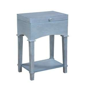 Cottage Trunk End Table in Distressed Driftwood Blue: Furniture