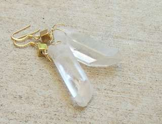 CRYSTAL GREY WHITE NATURAL PENDANT NECKLACE SILVER OR BRONZE CHAIN