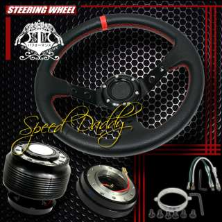 DEEP DISH STEERING WHEEL+HUB+QUICK RELEASE HONDA CIVIC/DEL SOL/INTEGRA