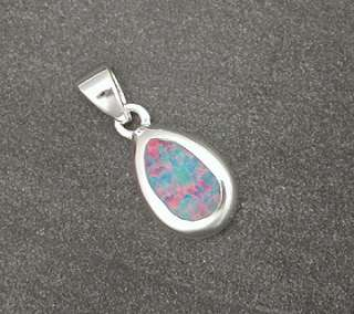 Sterling Silver Fire Opal Tear Drop Necklace Pendant