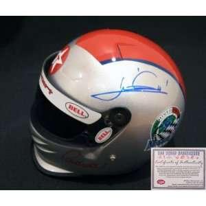 Mario Andretti Hand Signed Mini Racing Helmet   Sports Memorabilia