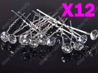 lots Princess Mini Crystal beads Wedding Bridal Tiara Hair Pins Clips