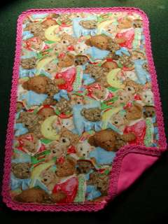 CRIB QUILT/CRIB SHEET PINK TEDDY BEAR MONTAGE