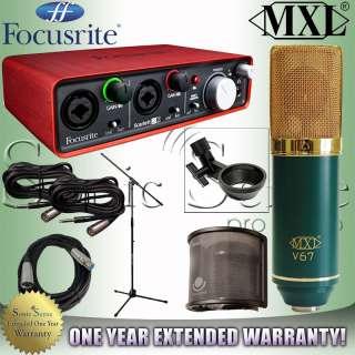 Focusrite Scarlett 2i2 USB Audio Recording Interface MXL V67G Extended