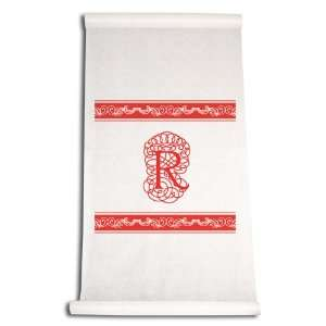 Inch Aisle Runner, Fancy Font Letter R, White with Red: Home & Kitchen