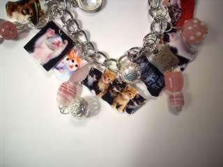 Cat Charm Bracelet kitty,fashion jewelry,art,kitsch,vtg