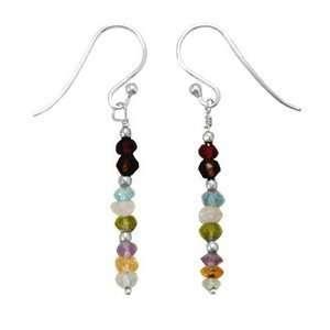 Amethyst, Topaz and Quartz Gem Drop Earrings Sterling Silver Jewelry
