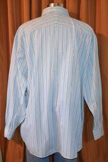 Sean John LONG SLEEVE WHITE BLUE GREEN COTTON CASUAL STRIPE BIG SHIRT