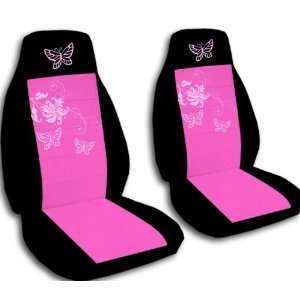 Black and Hot Pink seat covers with Sweet Pink Butterflies for a