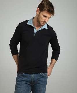 Brunello Cucinelli navy cashmere denim collar polo sweater