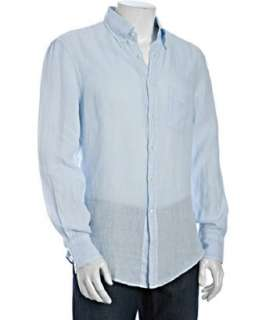 Brunello Cucinelli light blue linen long sleeve button down shirt