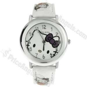 Hello Kitty Pattern Leather Band Watch for Lady and Kids