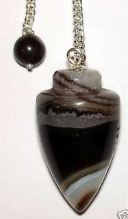 BANDED BLACK ONYX Crystal Pendulum + Pouch & Instructions   Healing