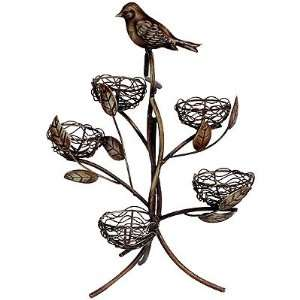 Metal Tree Branch Bird & Nest Candle Holder 12 inchH