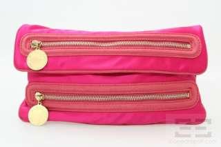 Stella McCartney Hot Pink Satin Double Zipper Clutch Bag