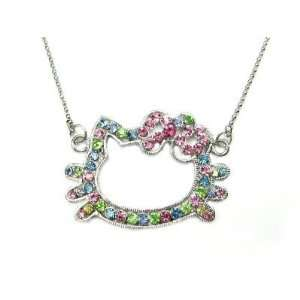 Hello Kitty Multi Color Crystal Necklace Pendant