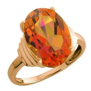 20 Ct Twilight Orange Oval Mystic Quartz Rose Gold Plated Silver Ring