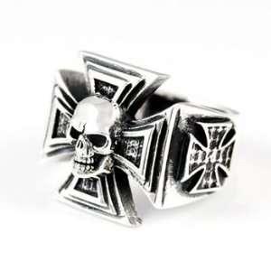 Iron Cross Skull Ring   13.5 Silverlogy Jewelry