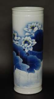 CERAMIC PORCELAIN UMBRELLA STAND Chinese Lotus Pond 22
