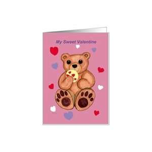 My Sweet Valentine Cookie Teddy Bear Card Health