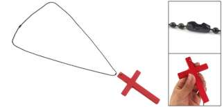 Red Wooden Cross Pendant Black Chain Necklace for Lady